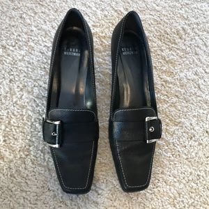 Stuart Weitzman Pebbled Leather Loafer Kitten Heel